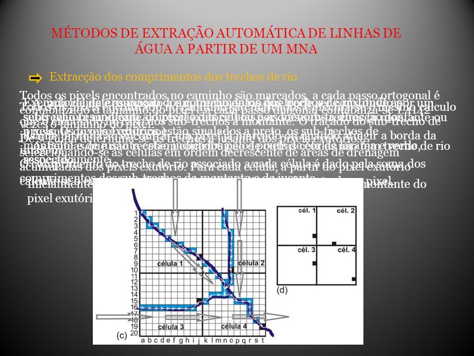 MÉTODOS DE EXTRAÇÃO AUTOMÁTICA DE LINHAS DE ÁGUA A PARTIR DE UM MNA Extracção dos comprimentos dos trechos de rio A cada célula é associado a um trech