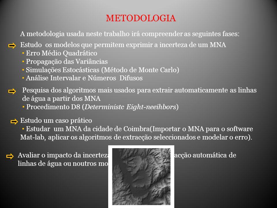 METODOLOGIA A metodologia usada neste trabalho irá compreender as seguintes fases: Estudo os modelos que permitem exprimir a incerteza de um MNA Erro
