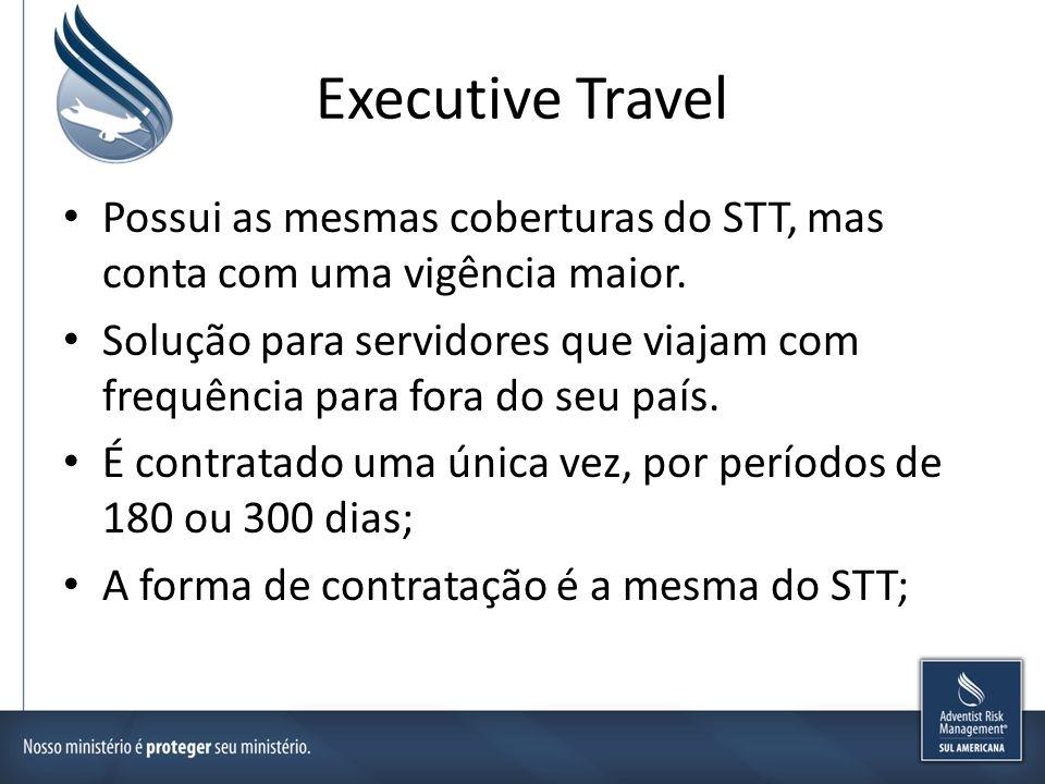 Executive Travel Possui as mesmas coberturas do STT, mas conta com uma vigência maior. Solução para servidores que viajam com frequência para fora do