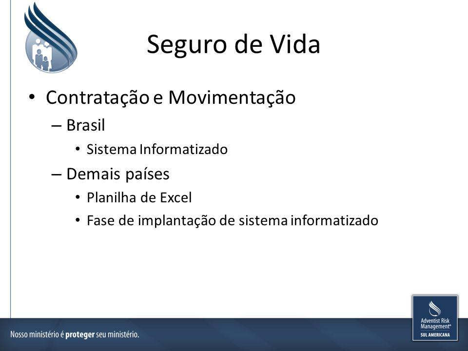 Seguro de Vida Contratação e Movimentação – Brasil Sistema Informatizado – Demais países Planilha de Excel Fase de implantação de sistema informatizad