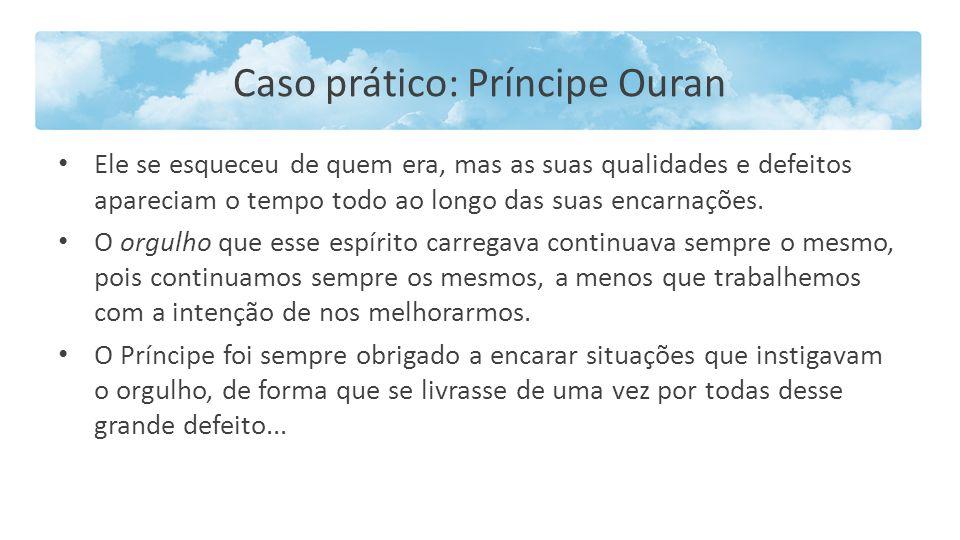Caso prático: Príncipe Ouran Ele se esqueceu de quem era, mas as suas qualidades e defeitos apareciam o tempo todo ao longo das suas encarnações. O or