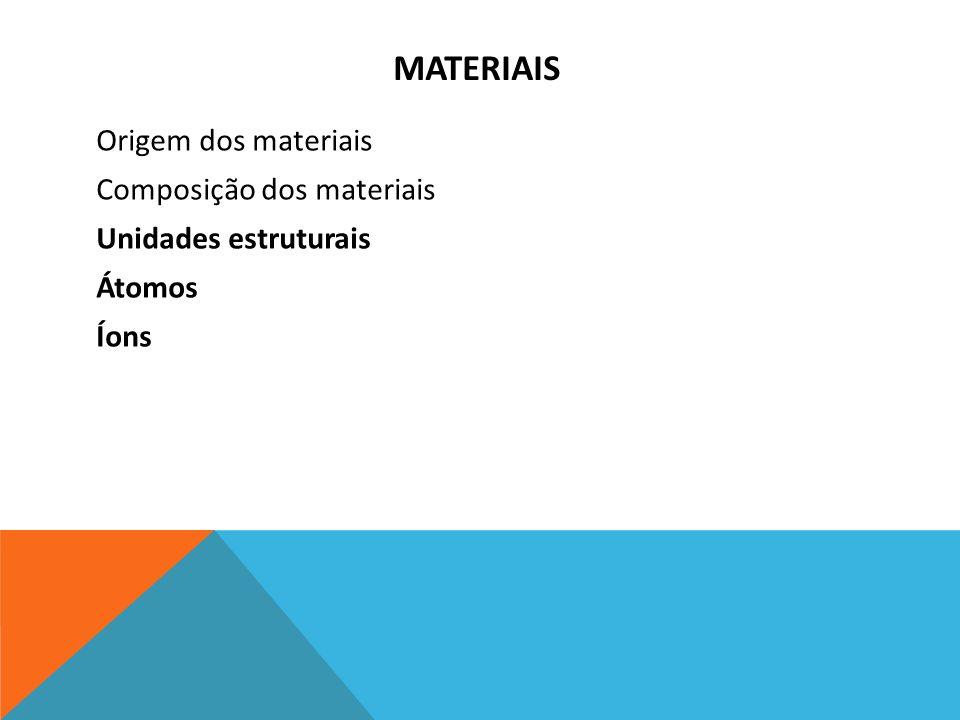MATERIAIS Origem dos materiais Composição dos materiais Unidades estruturais Átomos Íons