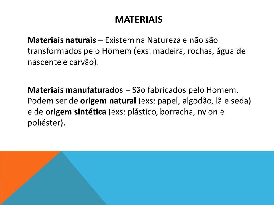 MATERIAIS Materiais naturais – Existem na Natureza e não são transformados pelo Homem (exs: madeira, rochas, água de nascente e carvão). Materiais man