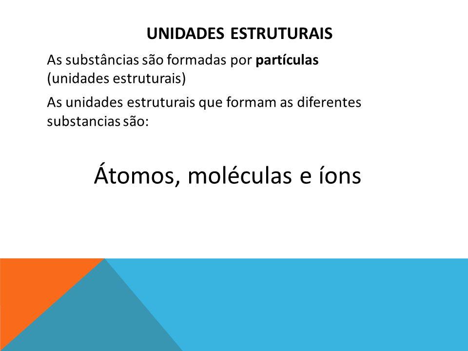 UNIDADES ESTRUTURAIS As substâncias são formadas por partículas (unidades estruturais) As unidades estruturais que formam as diferentes substancias são: Átomos, moléculas e íons