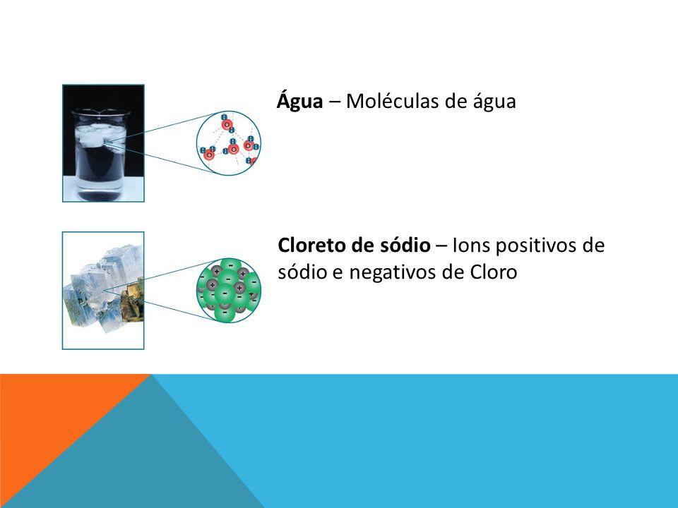 Água – Moléculas de água Cloreto de sódio – Ions positivos de sódio e negativos de Cloro