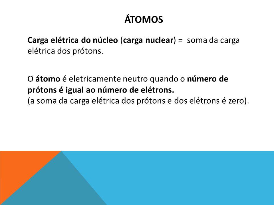 Carga elétrica do núcleo (carga nuclear) = soma da carga elétrica dos prótons. O átomo é eletricamente neutro quando o número de prótons é igual ao nú