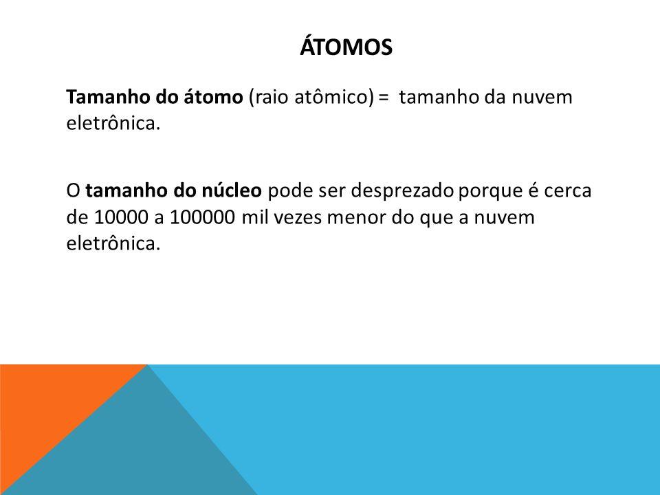 ÁTOMOS Tamanho do átomo (raio atômico) = tamanho da nuvem eletrônica. O tamanho do núcleo pode ser desprezado porque é cerca de 10000 a 100000 mil vez