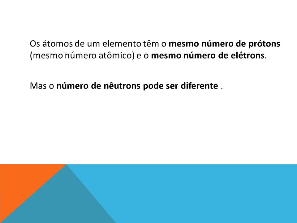 Os átomos de um elemento têm o mesmo número de prótons (mesmo número atômico) e o mesmo número de elétrons.