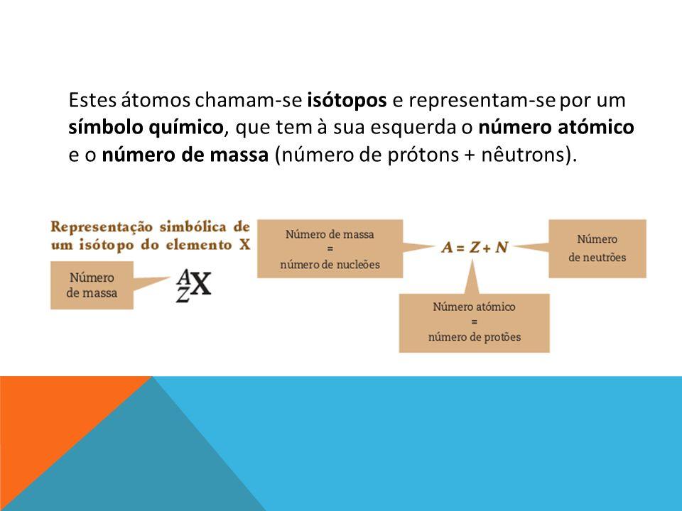 Estes átomos chamam-se isótopos e representam-se por um símbolo químico, que tem à sua esquerda o número atómico e o número de massa (número de prótons + nêutrons).