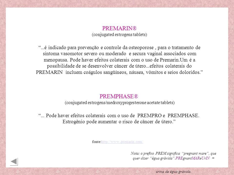 PREMARIN PREMARIN® (conjugated estrogens tablets)...é indicado para prevenção e controle da osteoporose, para o tratamento de sintoma vasomotor severo ou moderado e secura vaginal associados com menopausa.