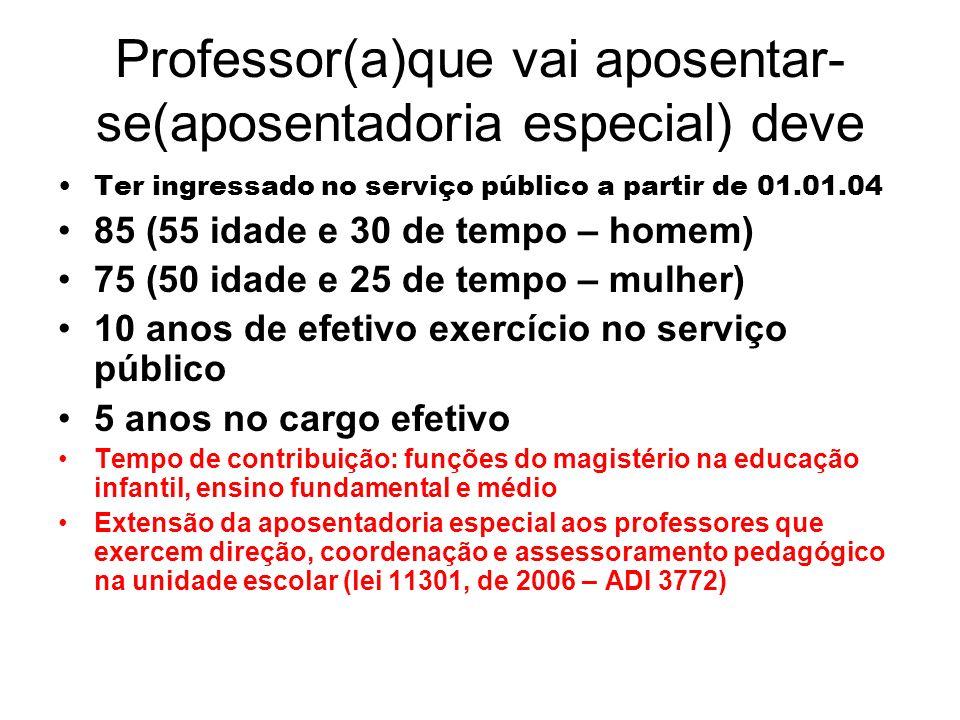 Professor(a)que vai aposentar- se(aposentadoria especial) deve Ter ingressado no serviço público a partir de 01.01.04 85 (55 idade e 30 de tempo – hom