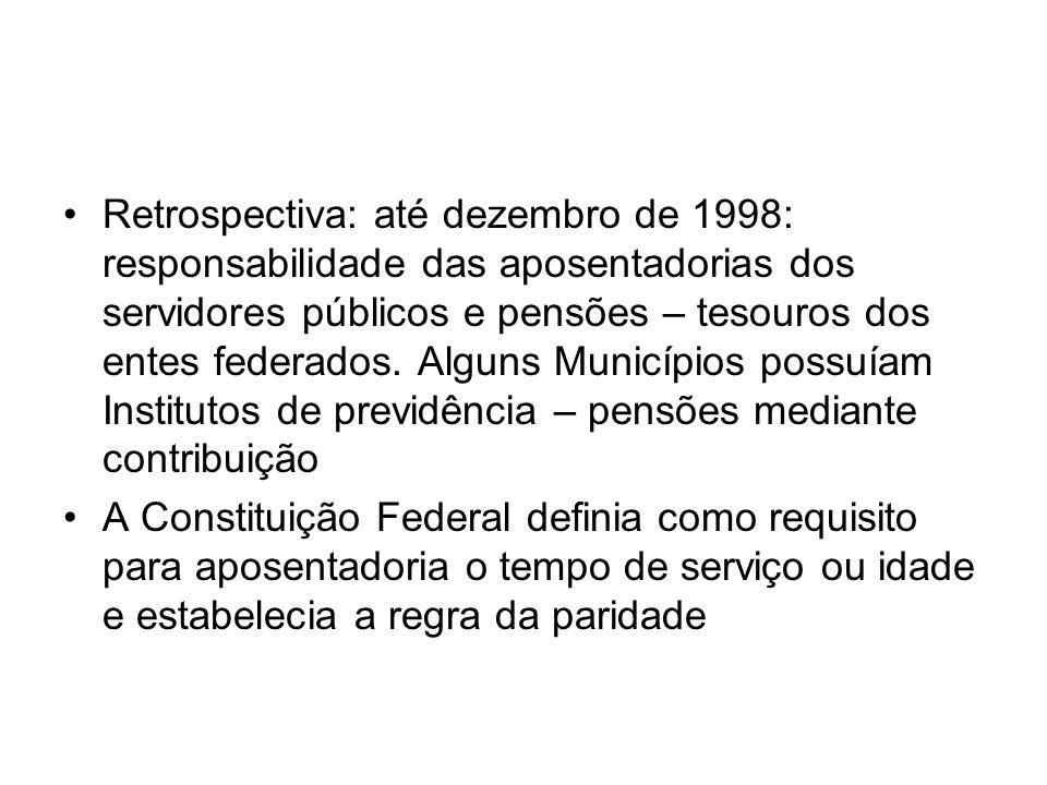 Retrospectiva: até dezembro de 1998: responsabilidade das aposentadorias dos servidores públicos e pensões – tesouros dos entes federados. Alguns Muni