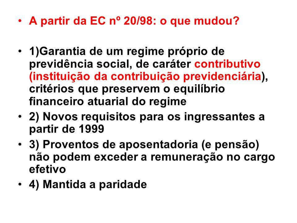 A partir da EC nº 20/98: o que mudou? 1)Garantia de um regime próprio de previdência social, de caráter contributivo (instituição da contribuição prev