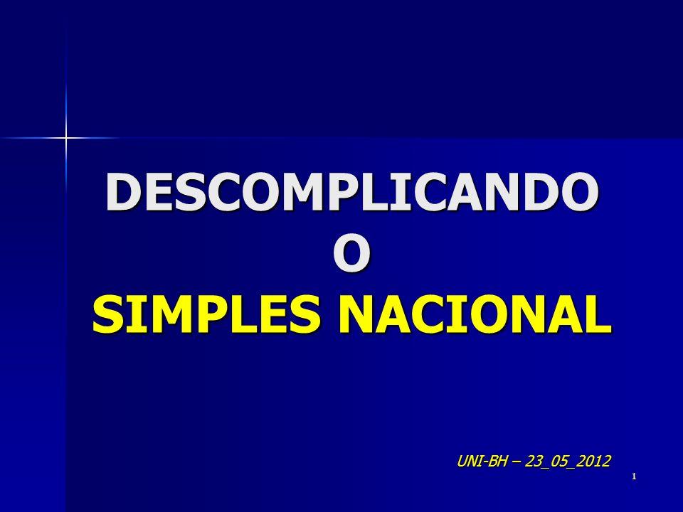DESCOMPLICANDO O SIMPLES NACIONAL UNI-BH – 23_05_2012 1