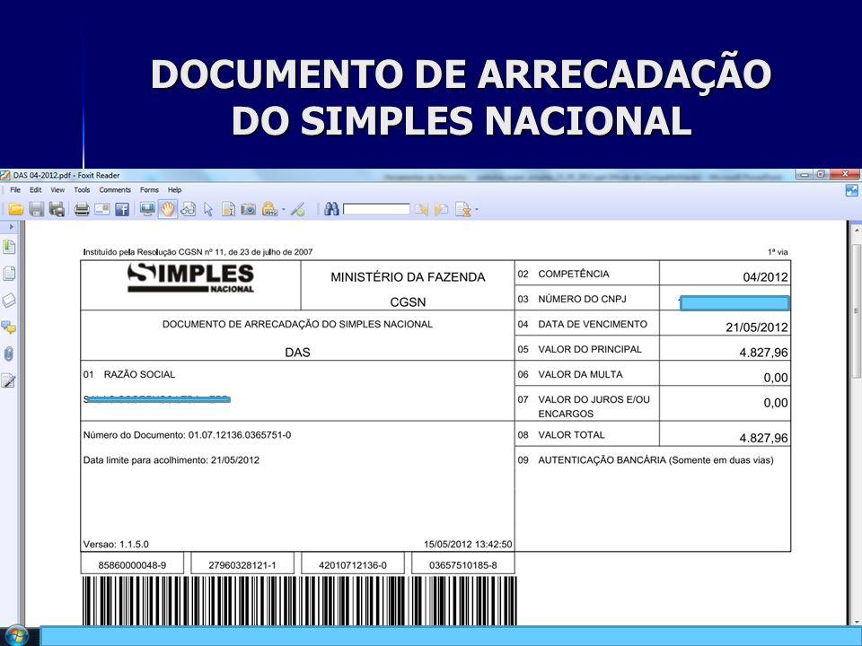 DOCUMENTO DE ARRECADAÇÃO DO SIMPLES NACIONAL 23