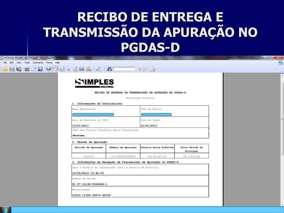 RECIBO DE ENTREGA E TRANSMISSÃO DA APURAÇÃO NO PGDAS-D 26