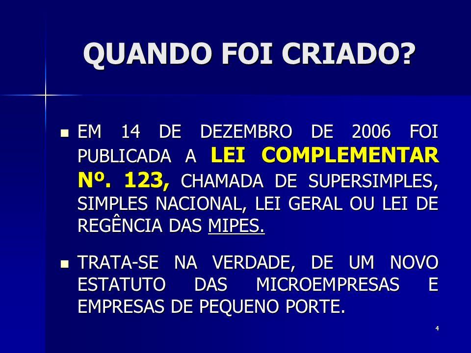 QUANDO FOI CRIADO.EM 14 DE DEZEMBRO DE 2006 FOI PUBLICADA A LEI COMPLEMENTAR Nº.