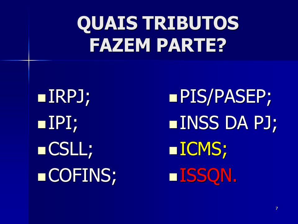 O SIMPLES NACIONAL NÃO ABRANGE: IOF, CPMF; IOF, CPMF; IMP.
