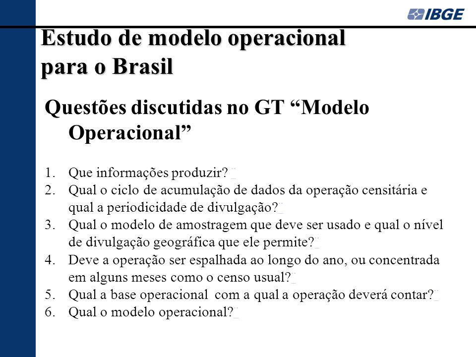 Estudo de modelo operacional para o Brasil Questões discutidas no GT Modelo Operacional 1.Que informações produzir? ¨¨ 2.Qual o ciclo de acumulação de