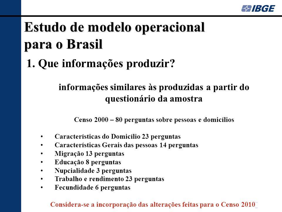 Estudo de modelo operacional para o Brasil 1. Que informações produzir? informações similares às produzidas a partir do questionário da amostra Censo