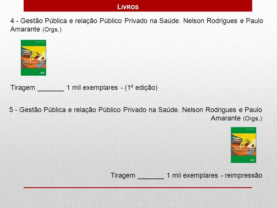 4 - Gestão Pública e relação Público Privado na Saúde. Nelson Rodrigues e Paulo Amarante (Orgs.) Tiragem _______ 1 mil exemplares - (1º edição) 5 - Ge