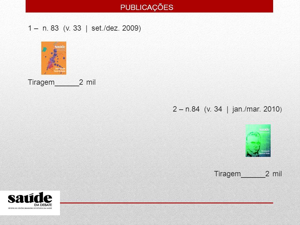 1 – n. 83 (v. 33   set./dez. 2009) Tiragem______2 mil 2 – n.84 (v. 34   jan./mar. 2010 ) Tiragem______2 mil PUBLICAÇÕES