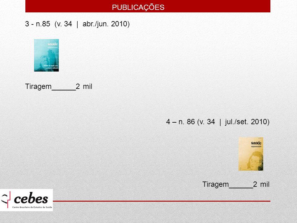 3 - n.85 (v. 34   abr./jun. 2010) Tiragem______2 mil 4 – n. 86 (v. 34   jul./set. 2010) Tiragem______2 mil PUBLICAÇÕES