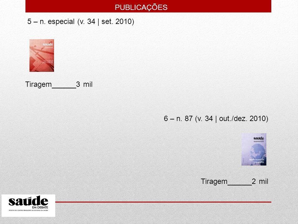 5 – n. especial (v. 34   set. 2010) Tiragem______3 mil 6 – n. 87 (v. 34   out./dez. 2010) Tiragem______2 mil PUBLICAÇÕES