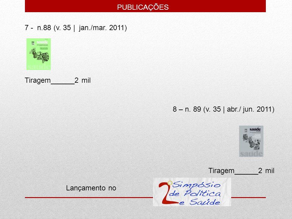 7 - n.88 (v. 35   jan./mar. 2011) Tiragem______2 mil 8 – n. 89 (v. 35   abr./ jun. 2011) Tiragem______2 mil Lançamento no PUBLICAÇÕES