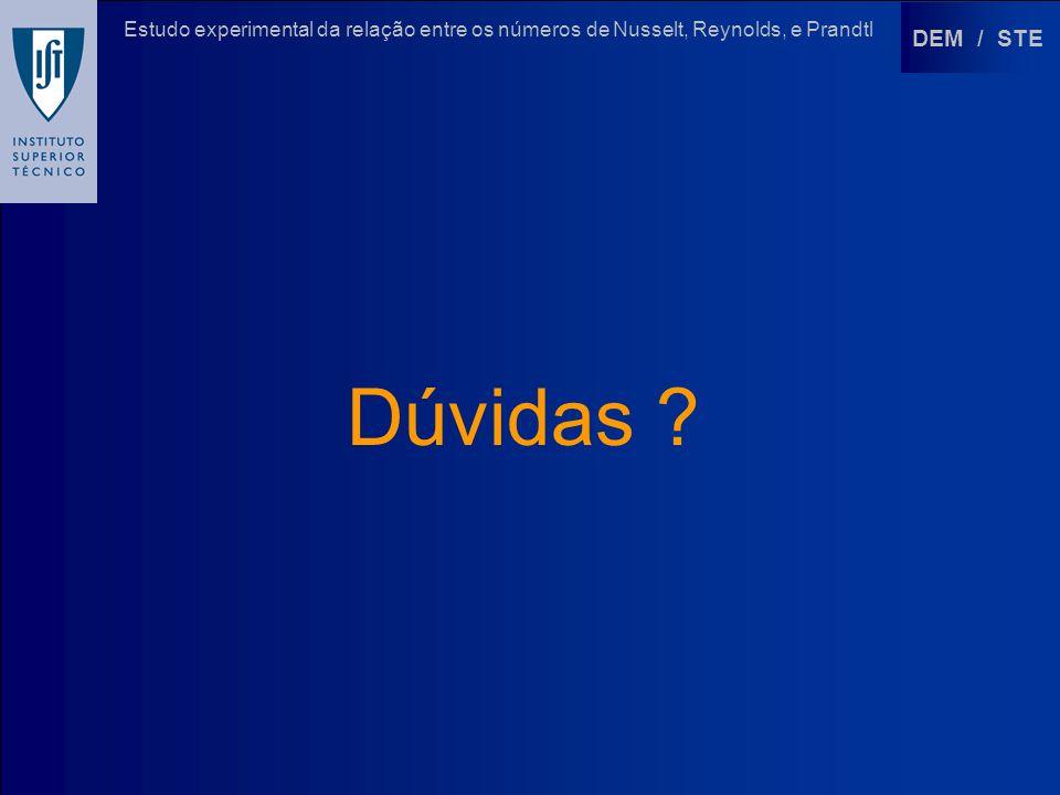 DEM / STE Estudo experimental da relação entre os números de Nusselt, Reynolds, e Prandtl Dúvidas ?