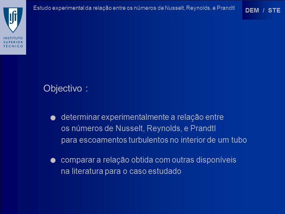 DEM / STE Estudo experimental da relação entre os números de Nusselt, Reynolds, e Prandtl Objectivo : determinar experimentalmente a relação entre os