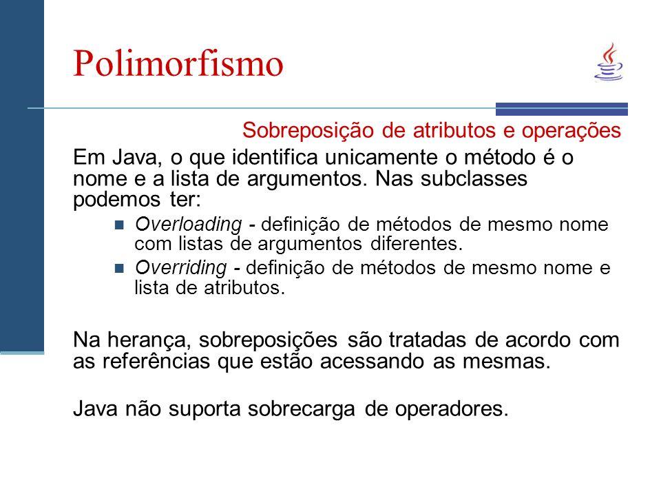 Polimorfismo Sobreposição de atributos e operações Em Java, o que identifica unicamente o método é o nome e a lista de argumentos.