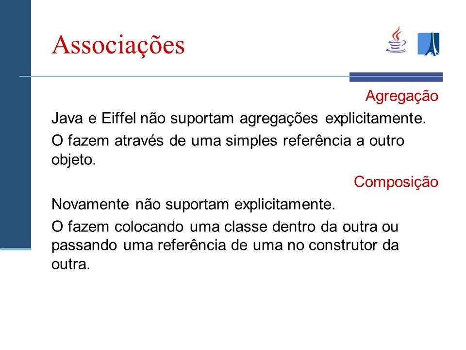Associações Agregação Java e Eiffel não suportam agregações explicitamente.