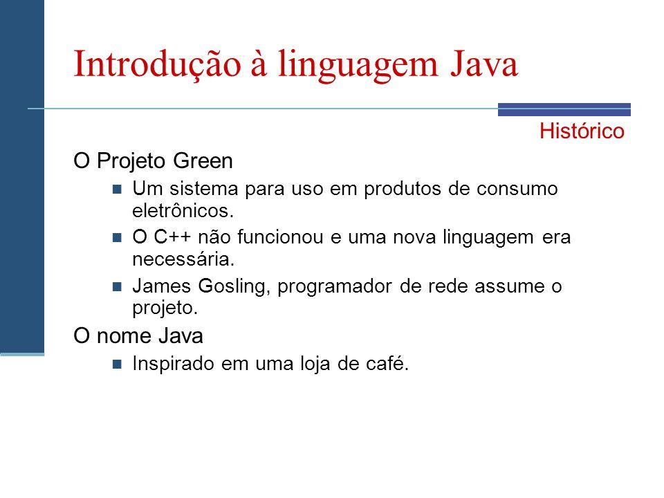 Introdução à linguagem Java Histórico O Projeto Green Um sistema para uso em produtos de consumo eletrônicos.