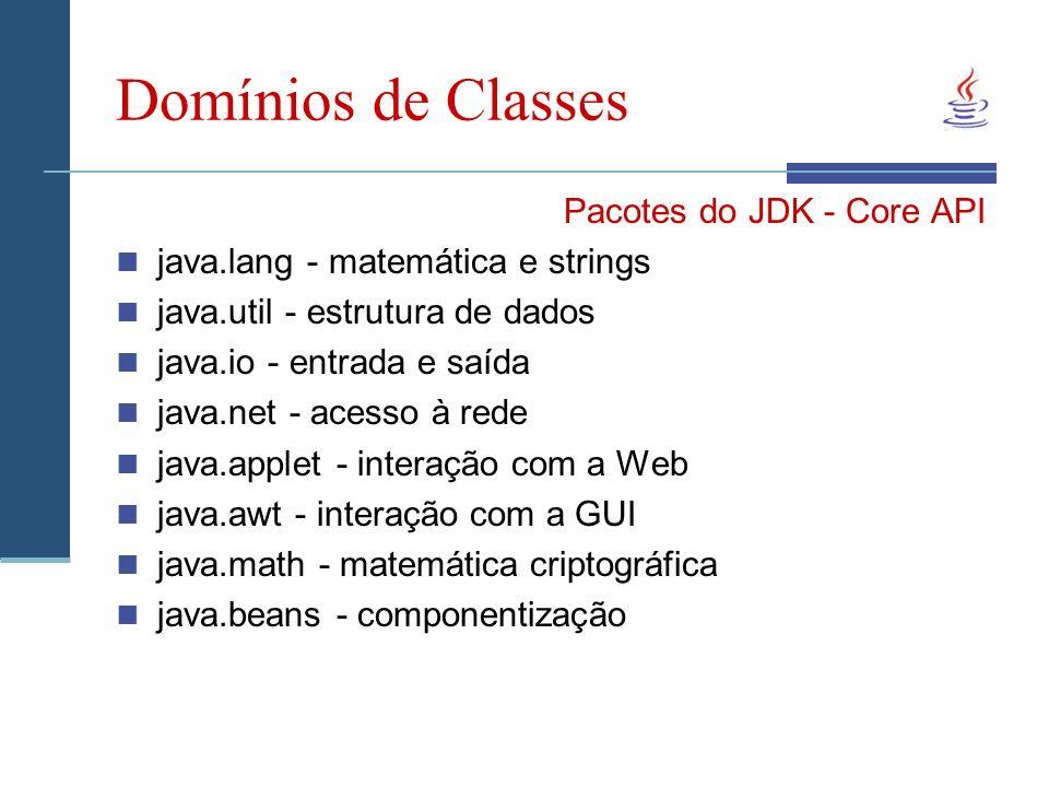 Domínios de Classes Pacotes do JDK - Core API java.lang - matemática e strings java.util - estrutura de dados java.io - entrada e saída java.net - acesso à rede java.applet - interação com a Web java.awt - interação com a GUI java.math - matemática criptográfica java.beans - componentização