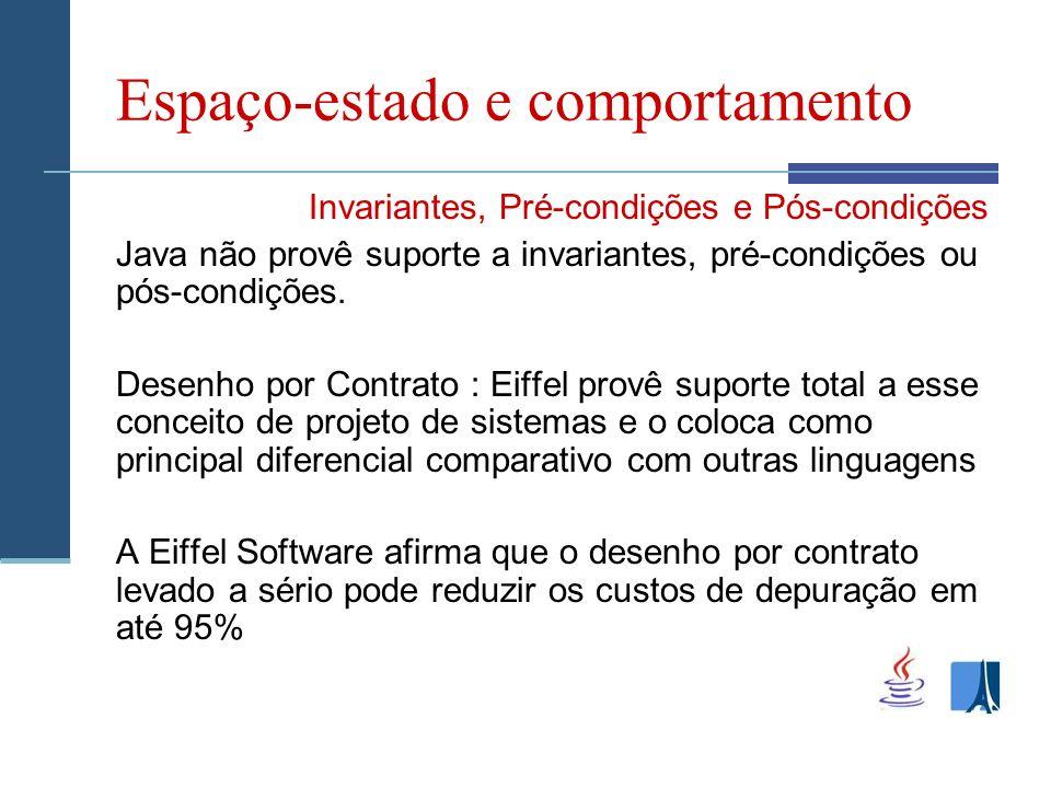 Espaço-estado e comportamento Invariantes, Pré-condições e Pós-condições Java não provê suporte a invariantes, pré-condições ou pós-condições.