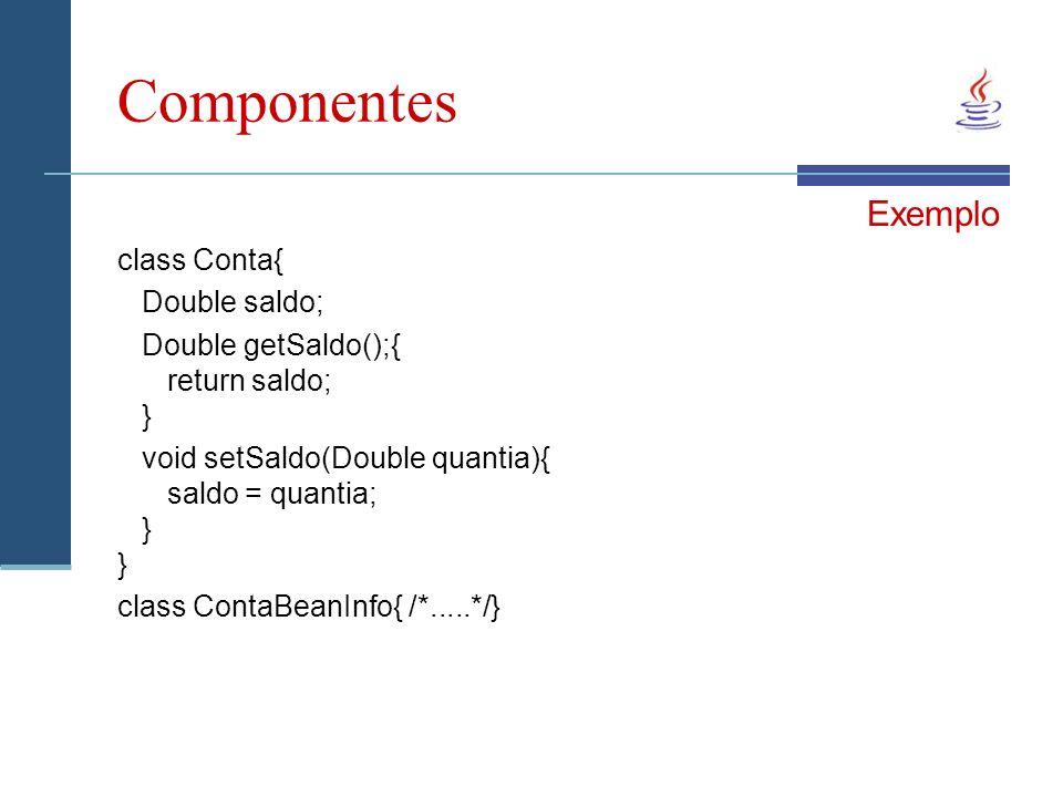 Componentes Exemplo class Conta{ Double saldo; Double getSaldo();{ return saldo; } void setSaldo(Double quantia){ saldo = quantia; } } class ContaBeanInfo{ /*.....*/}
