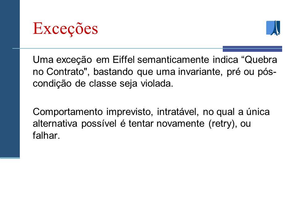Exceções Uma exceção em Eiffel semanticamente indica Quebra no Contrato , bastando que uma invariante, pré ou pós- condição de classe seja violada.