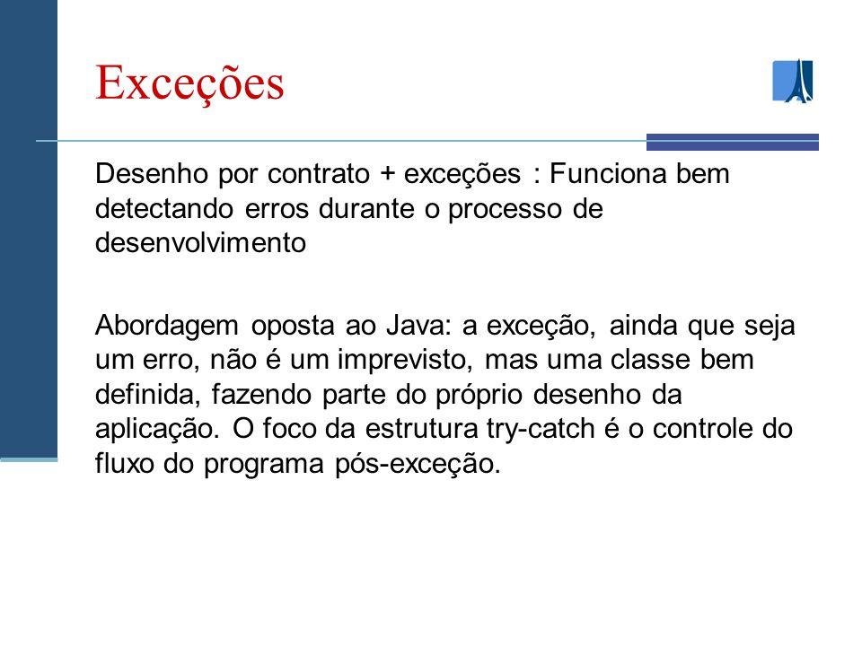Exceções Desenho por contrato + exceções : Funciona bem detectando erros durante o processo de desenvolvimento Abordagem oposta ao Java: a exceção, ainda que seja um erro, não é um imprevisto, mas uma classe bem definida, fazendo parte do próprio desenho da aplicação.