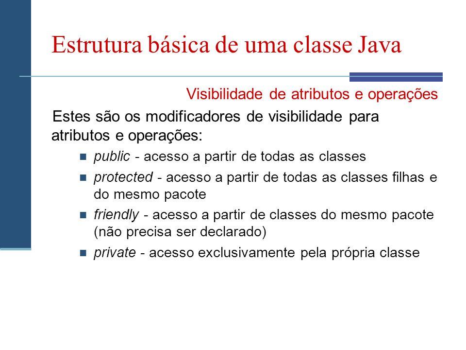 Estrutura básica de uma classe Java Visibilidade de atributos e operações Estes são os modificadores de visibilidade para atributos e operações: public - acesso a partir de todas as classes protected - acesso a partir de todas as classes filhas e do mesmo pacote friendly - acesso a partir de classes do mesmo pacote (não precisa ser declarado) private - acesso exclusivamente pela própria classe