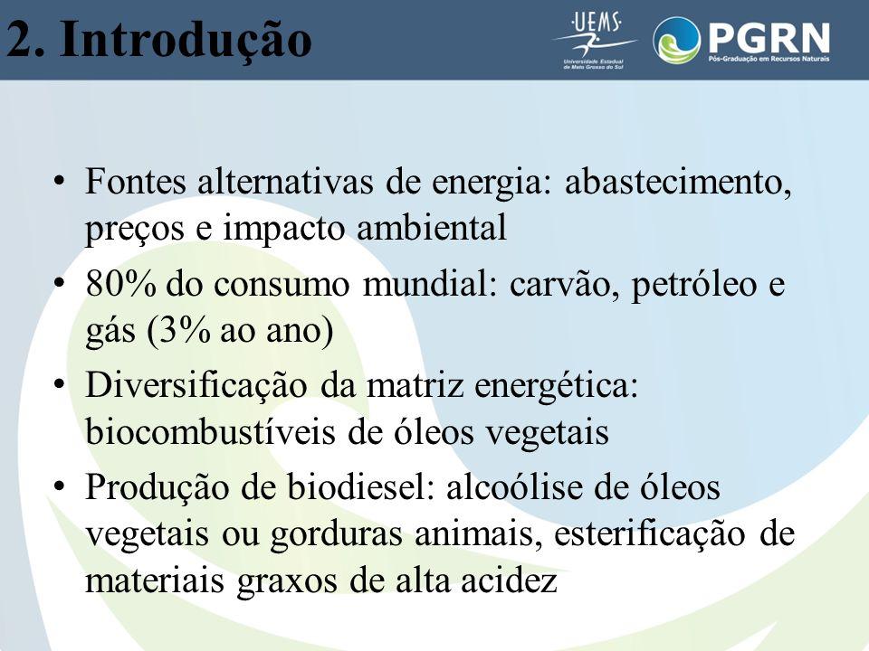 2. Introdução Fontes alternativas de energia: abastecimento, preços e impacto ambiental 80% do consumo mundial: carvão, petróleo e gás (3% ao ano) Div
