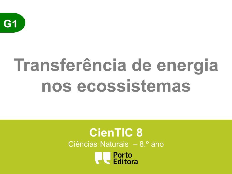 G1 Transferência de energia nos ecossistemas CienTIC 8 Ciências Naturais – 8.º ano