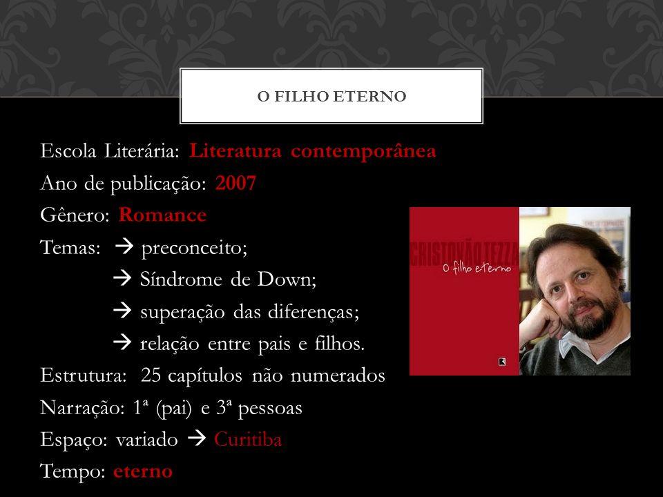 Escola Literária: Literatura contemporânea Ano de publicação: 2007 Gênero: Romance Temas: preconceito; Síndrome de Down; superação das diferenças; rel