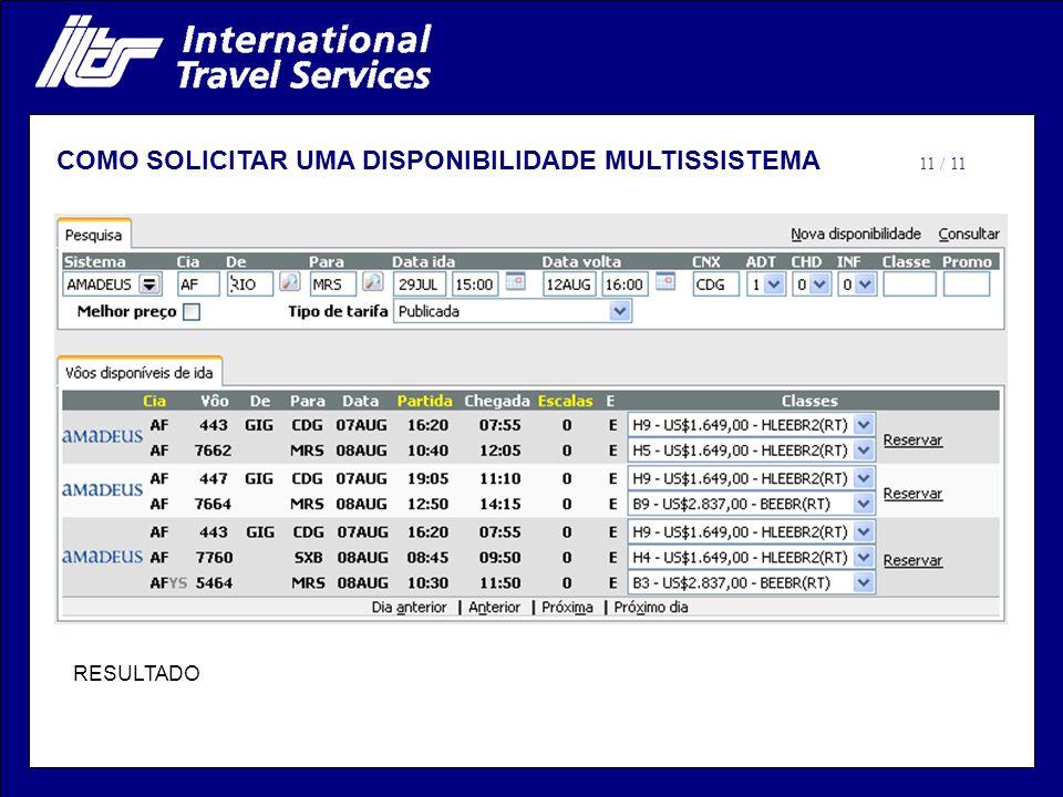 RESULTADO 11 / 11 COMO SOLICITAR UMA DISPONIBILIDADE MULTISSISTEMA