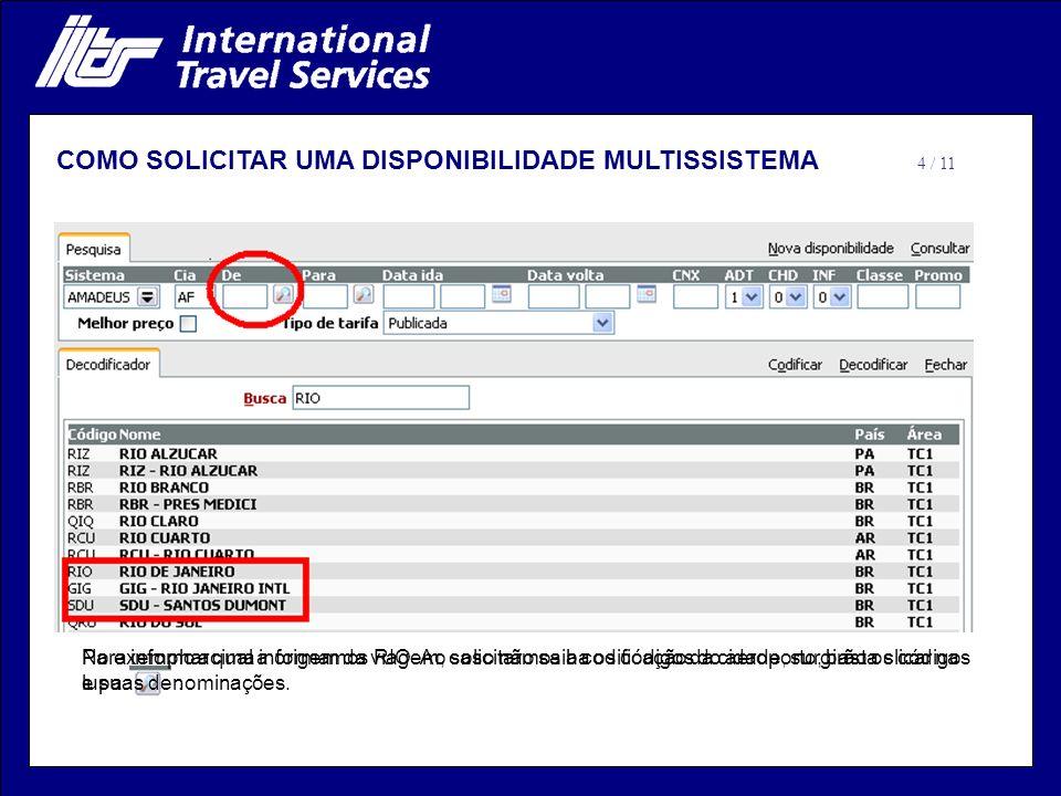 Para informar qual a origem da viagem, caso não saiba os códigos do aeroporto, basta clicar na lupa. No exemplo acima informamos RIO. Ao solicitarmos
