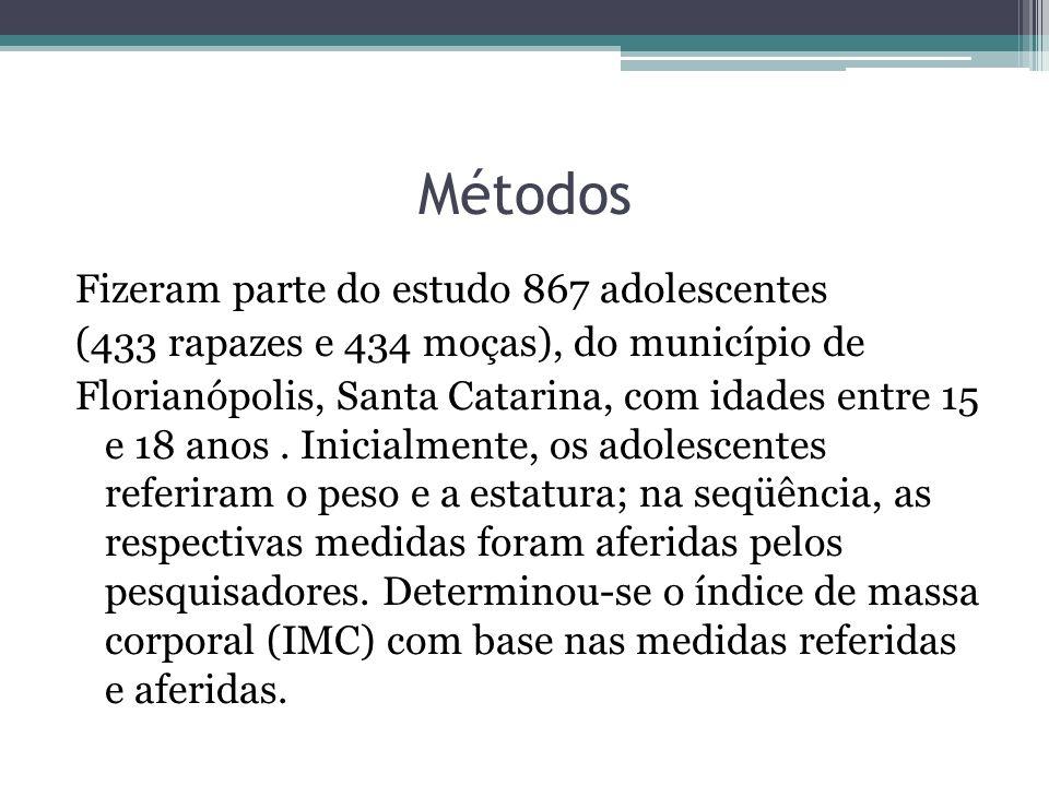 Métodos Fizeram parte do estudo 867 adolescentes (433 rapazes e 434 moças), do município de Florianópolis, Santa Catarina, com idades entre 15 e 18 an