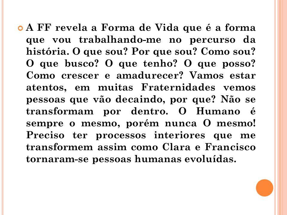 A FF revela a Forma de Vida que é a forma que vou trabalhando-me no percurso da história. O que sou? Por que sou? Como sou? O que busco? O que tenho?