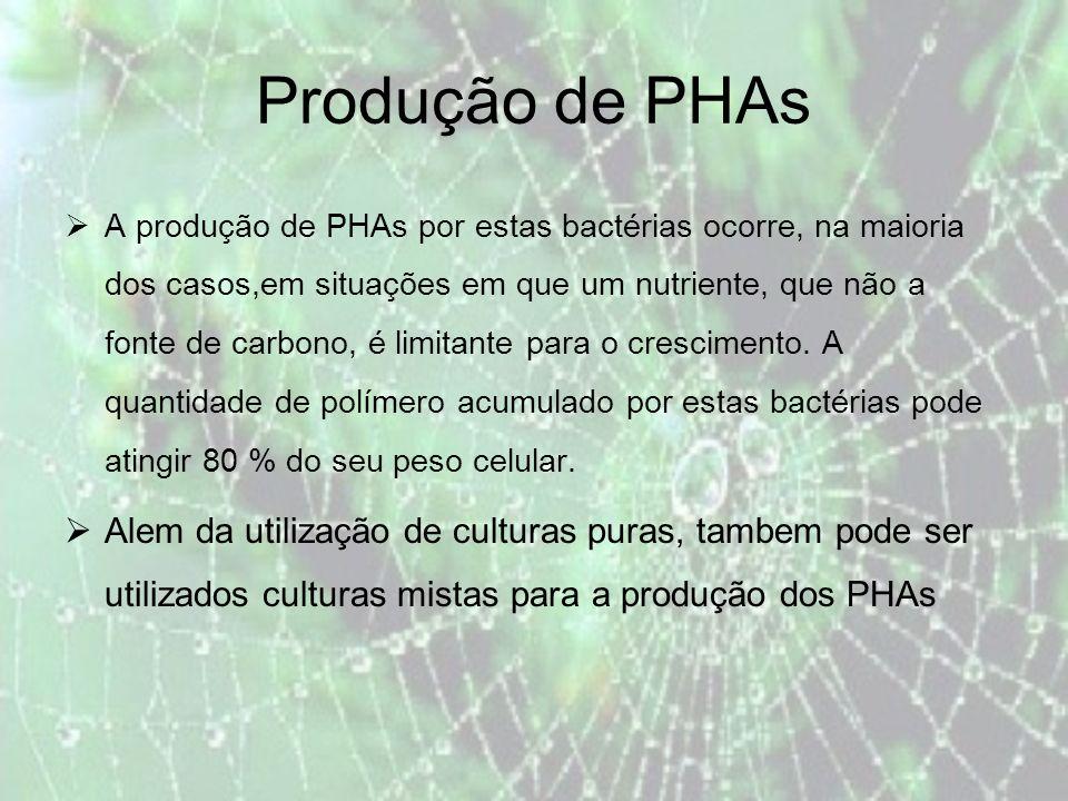 Produção de PHAs A produção de PHAs por estas bactérias ocorre, na maioria dos casos,em situações em que um nutriente, que não a fonte de carbono, é limitante para o crescimento.