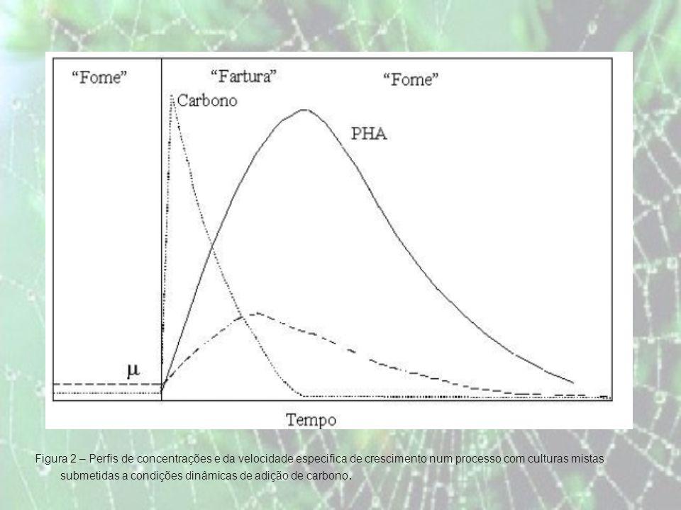 Figura 2 – Perfis de concentrações e da velocidade especifica de crescimento num processo com culturas mistas submetidas a condições dinâmicas de adição de carbono.