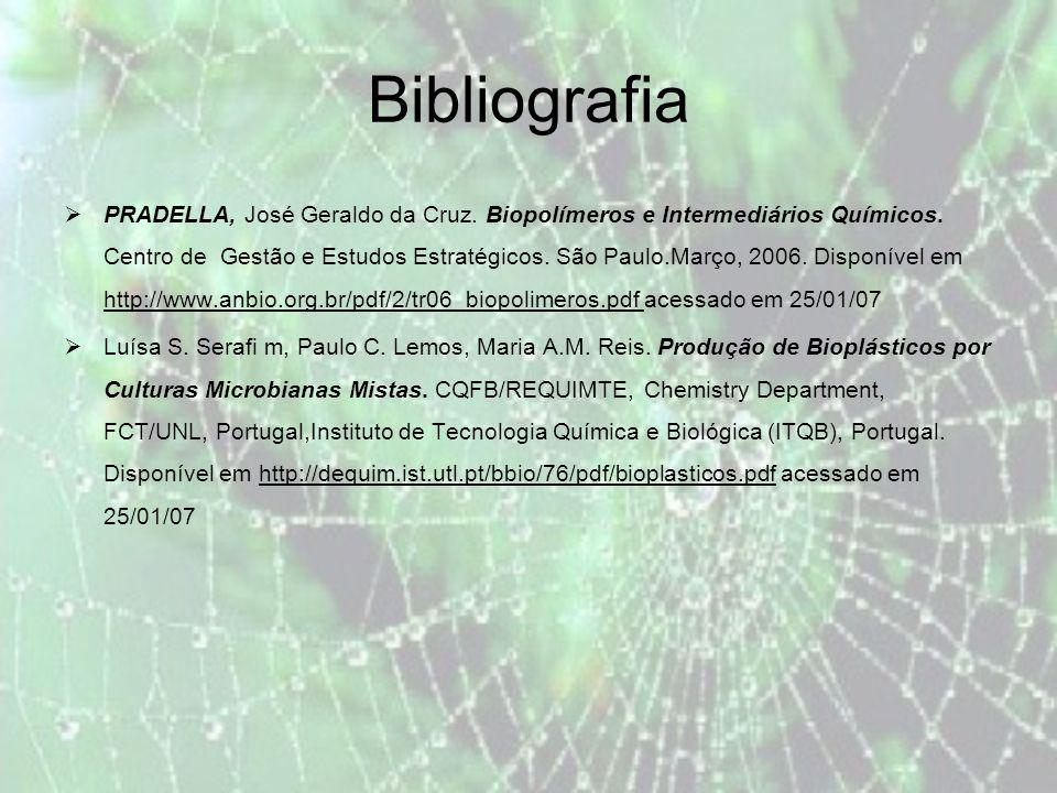 Bibliografia PRADELLA, José Geraldo da Cruz.Biopolímeros e Intermediários Químicos.